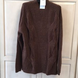 NWT Zara oversized turtleneck brown knit sweater